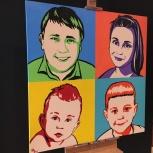 Современный капля в каплю по мнению фотоотпечаток во стиле Энди Уорхол. Семейный портрет, Екатеринбург