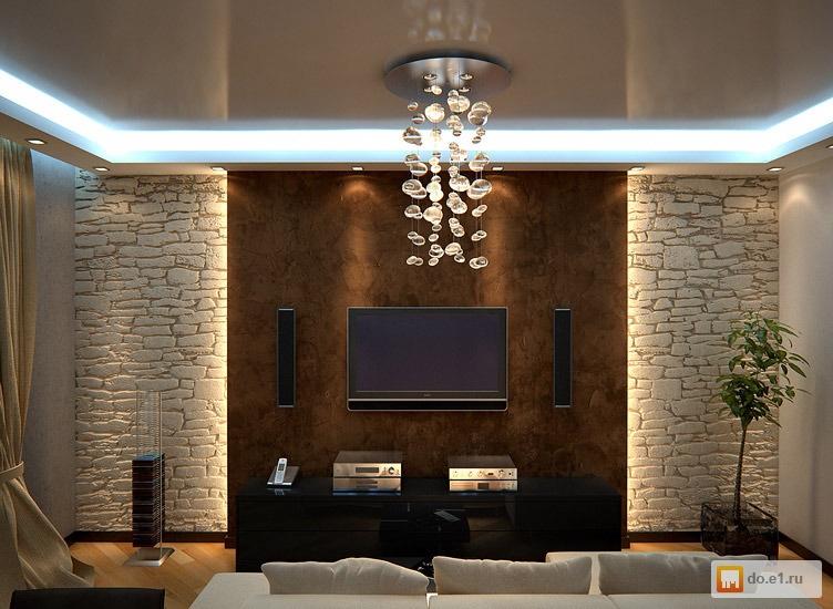 Идеи с камнем в гостиной