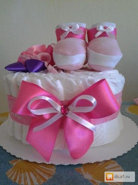 Торт из памперсов для девочки своими руками одноярусный 9