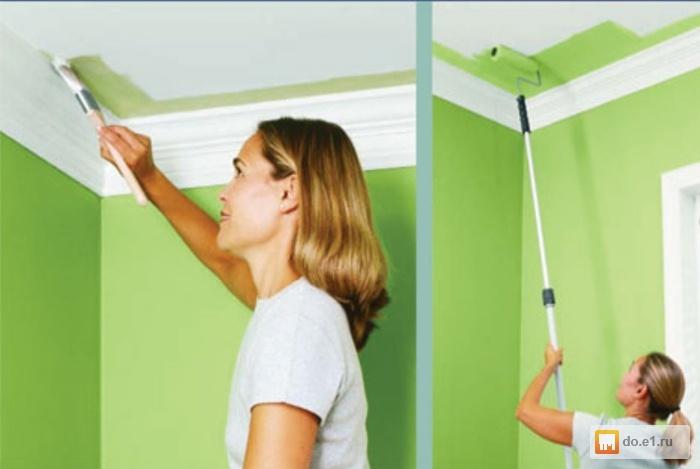 Покраска потолка водоэмульсионной краской на кухне