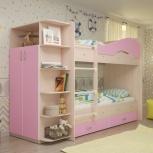 2-х ярусная кровать Мая с ящиками и шкафом Дуб / Розовый (Тмк), Екатеринбург