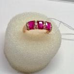 Кольцо серебряное 925пр, позолоченное с Рубины - корунды 3шт по 2,55ct, Екатеринбург