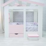 Кровать ТЕРЕМОК белый-розовый (Мир мебели), Екатеринбург