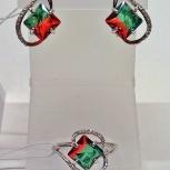 Серьги и кольцо серебро 925пр. Турмалин форма квадрат, биколор, новое, Екатеринбург