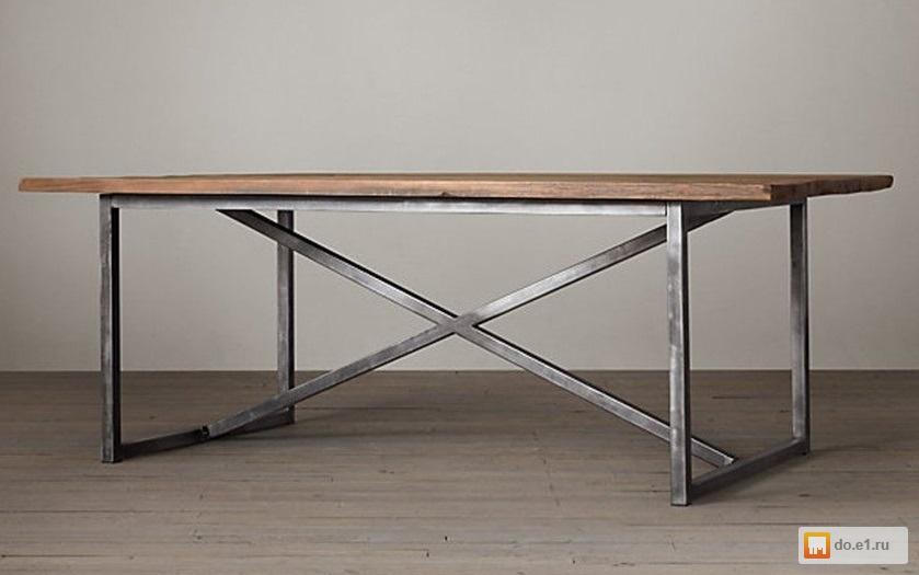 стол обеденный из дуба и металла в стиле лофт