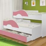 Кровать Матрешка белый / розовый, с ящиком, Екатеринбург