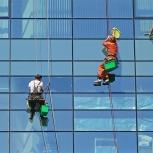 Мойка фасадов с помощью промышленного альпинизма, Екатеринбург