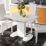 Стол обеденный Портофино (1) 110 Белый глянец/Стекло белое (Тр), Екатеринбург
