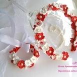 Ободок и браслет с красными и белыми цветами из фоамирана, Екатеринбург