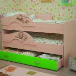 Кровать двухъярусная выкатная Матрешка Сафари Лайм (ТМК), Екатеринбург