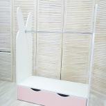 Стеллаж-вешалка ЗАЙКА белый-розовый (Мир Мебели), Екатеринбург