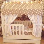 Детская кровать-домик с ящиком розовый (мир мебели), Екатеринбург