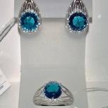 Серьги и кольцо серебро 925 камень Лондон Топаз круглый крупный, новый, Екатеринбург