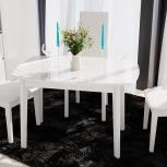 Стол обеденный Портофино (2) 110 Белый глянец/Стекло белое (Тр), Екатеринбург