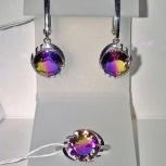 Серьги и кольцо серебро 925пр. камень Аметрин ТРИколор, форма круглая, Екатеринбург