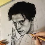 Портрет по фото на заказ, простым карандашом, Екатеринбург