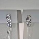 Сережки детские серебряные 925 проба с фианитами новые, Екатеринбург