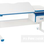 Парта-трансформер для школьника FunDesk Creare Blue с выдвижным ящиком, Екатеринбург