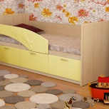 Детская кровать Дельфин МДФ Желтый (Миди), Екатеринбург