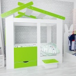 Кровать ТЕРЕМОК белый-лайм (Мир мебели), Екатеринбург