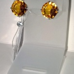 Сережки серебряные 925 с крупными Сапфирами, ярко желтого цвета, новые, Екатеринбург