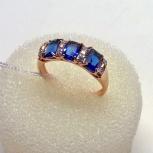 Кольцо серебряное 925пр, позолоченное, Сапфиры - корунды 3шт. по 3,6ct, Екатеринбург