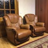 набор мягкой мебели из натуральной кожи (диван и 2 кресла), Екатеринбург