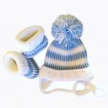 Очаровательный комплект шапочка + пинетки-сапожки. Бесплатная доставка, Екатеринбург