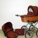 Шикарная коляска Шоколад в плетёной корзине 2в1 на больших колёсах, Екатеринбург