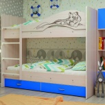 Двухъярусная кровать Мая Сафари голубой, Екатеринбург