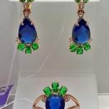 Серьги и кольцо серебро 925 позолоченные синий кварц насыщенный, новый, Екатеринбург