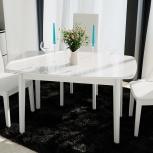 Стол обеденный Портофино (2) 130 Белый глянец/Стекло белое (Тр), Екатеринбург