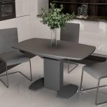 Стол обеденный Портофино (1) 130 Серый/Стекло серое матовое LUX (Тр), Екатеринбург