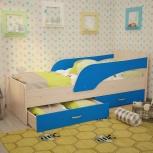 Кроха, Детская кровать с ящиками, 80*190 см, Голубой (ТМК), Екатеринбург