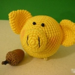 Ёлочная игрушка ручной работы свиношарик жёлтый, Екатеринбург