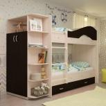 Двухъярусная кровать Мая с ящиками и шкафом, Екатеринбург