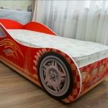Кровать детская Авто 3-2 (Авто) красная + ортопедический матрас, Екатеринбург