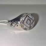 Перстень, печатка, кольцо серебряное 925пр. с фианитами, новое, Екатеринбург