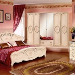 Модульная спальня Роза беж Комплект с 6-ти дверным шкафом (Авт), Екатеринбург