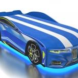 Кровать-машина с матрасом Boxter М синяя, Екатеринбург