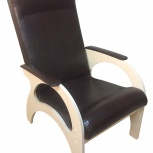 Кресло для отдыха Комфорт, темная кожа / светлые ноги (ТМК), Екатеринбург