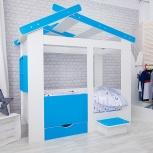 Кровать ТЕРЕМОК белый-лазурь (Мир мебели), Екатеринбург