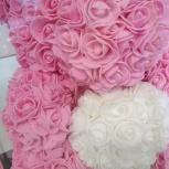 Розовый мишка большой из роз с сердцем, Екатеринбург