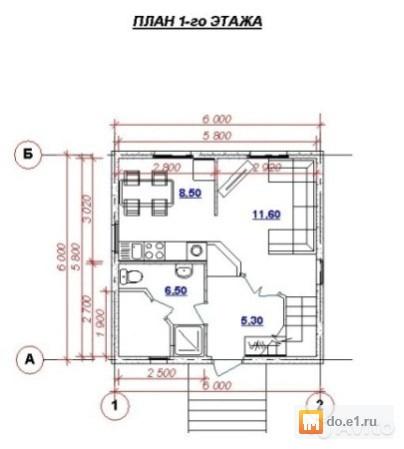 Проект финского дома вишня размером шесть на шесть метров с .
