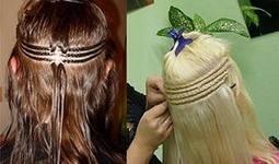 наращивания на фото трессы волос